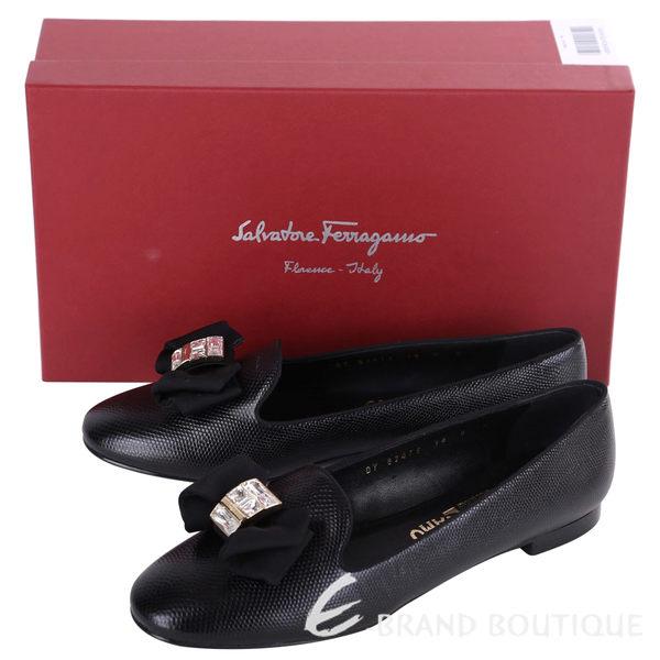 Salvatore Ferragamo Gessy 蝴蝶結鑽飾壓紋平底鞋(黑色) 1620690-01