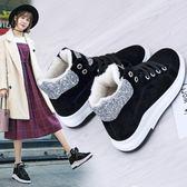 中筒靴35-40靴子全館免運雪靴女短筒棉鞋女冬學生保暖加絨刷毛正韓短靴
