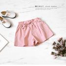 粉色綁帶氣質雙後口袋休閒短褲 柔軟 鬆緊...