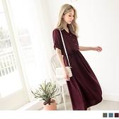 腰綁帶V領背鏤空排釦長洋裝--適 XL~6L OrangeBear《DA5798》