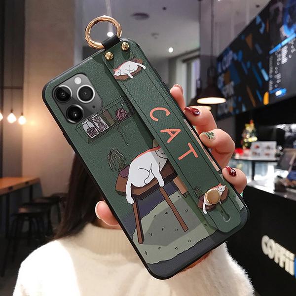 iPhone 11 Pro Max 手機殼 保護殼 腕帶支架防摔 全包邊外殼 手機套 卡通保護套 浮雕軟殼 iPhone11