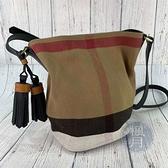 BRAND楓月 BURBERRY 經典大格紋 帆布 棉布 水桶包 側背包 斜背包 小款 附手拿子包