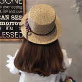 帽子女夏季小清新小花朵蝴蝶結大檐草帽海邊度假沙灘防曬遮陽帽