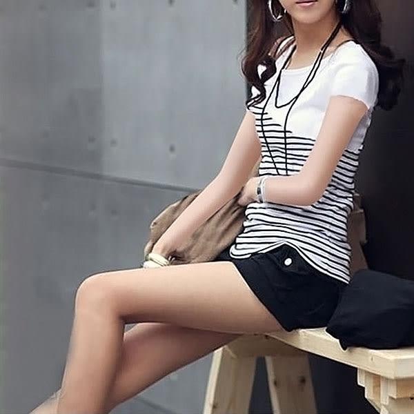 韓風夏裝 條紋修身T恤 A0017 ◆ 韓妮小熊