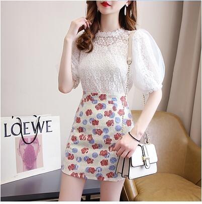 洋氣蕾絲短袖裙套裝S-XL小個子套裝清新蕾絲短袖花朵半身裙兩件套 5071 4F-432-C 胖妹衣櫥