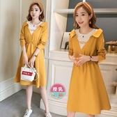 漂亮小媽咪 哺乳 洋裝【B2533】韓系 假兩件 拼接 超質感 長袖 洋裝 孕婦裝 哺乳衣