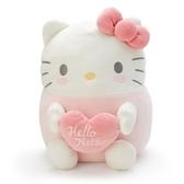 小禮堂 Hello Kitty 造型絨毛抱枕 麻糬娃娃 絨毛靠枕 絨毛玩偶 (粉白 抱愛心) 4550337-00085