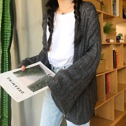 EASON SHOP(GU3608)毛衣外套寬袖子粗毛線開衫針織衫女上衣素色寬鬆長袖子純色大擺肩斜垮肩飛鼠袖
