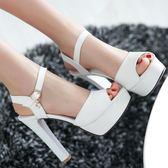 新款涼鞋女夏季粗跟高跟鞋防水臺厚底魚嘴鞋