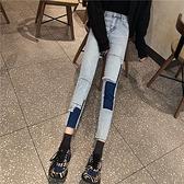 DE shop - 不規則拼接九分高腰顯瘦修身牛仔褲 -T-2566