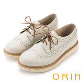 ORIN 懷舊復古學院風 質感壓紋牛皮綁帶厚底鞋-白色