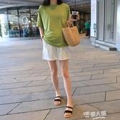 孕婦裝夏裝上衣短袖T恤打底衫寬鬆大碼時尚韓版潮媽套裝2020新款