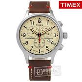 TIMEX 天美時/ TXT4B04300 / INDIGLO 美國指標 三眼計時真皮手錶 米x咖啡 42mm