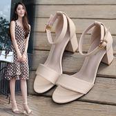 2018夏季新款小碼女涼鞋簡約一字扣涼鞋女粗跟高跟女鞋潮露趾涼鞋 晴光小語
