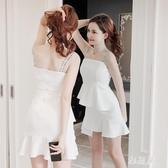 小禮服2020夏裝新款女裝夜店性感吊帶外穿白色一字肩夜場連身裙洋裝子 OO10313【雅居屋】