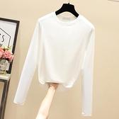 小中大尺碼長袖T恤~白色打底衫女T恤純棉上衣修身顯瘦小衫韓版女裝T305莎菲娜