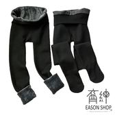 EASON SHOP(GU9714)實拍純色簡約百搭刷毛加厚加絨鬆緊腰收腰保暖褲襪高腰內搭褲修身連體褲顯瘦黑色