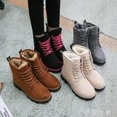 馬丁靴馬丁短靴短筒平底棉鞋學生女鞋女靴子棉靴 伊鞋本鋪