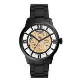 FOSSIL 時間怪盜鏤空機械腕錶-黑X金