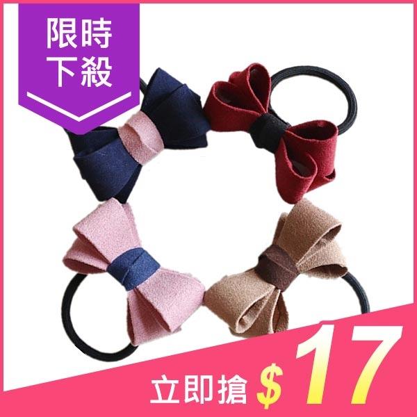 麂皮立體大蝴蝶結髮圈(1入)【小三美日】顏色隨機 原價$19