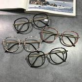 新款淑女鏡框 鏡架女圓臉眼鏡復古顯瘦眼鏡豹紋平光鏡可配【【聖誕再續 7折下殺】】