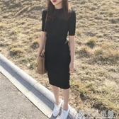 夏季新款韓版修身顯瘦圓領短袖洋裝純色套頭螺紋針織包臀中長裙 錢夫人