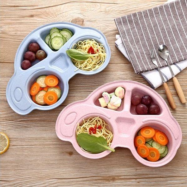 [拉拉百貨]小麥 秸稈 餐盤 兒童 卡通 餐具 餐盤 餐碗 碗盤 盤子 多格 汽車 造型 環保