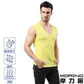 【MORINO摩力諾】男內衣~吸排涼爽素色網眼運動無袖衫 黃色(一件)
