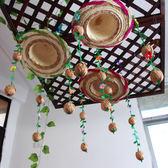 幼兒園吊飾掛飾創意diy草帽手工作品走廊教室草編復古風佈置材料