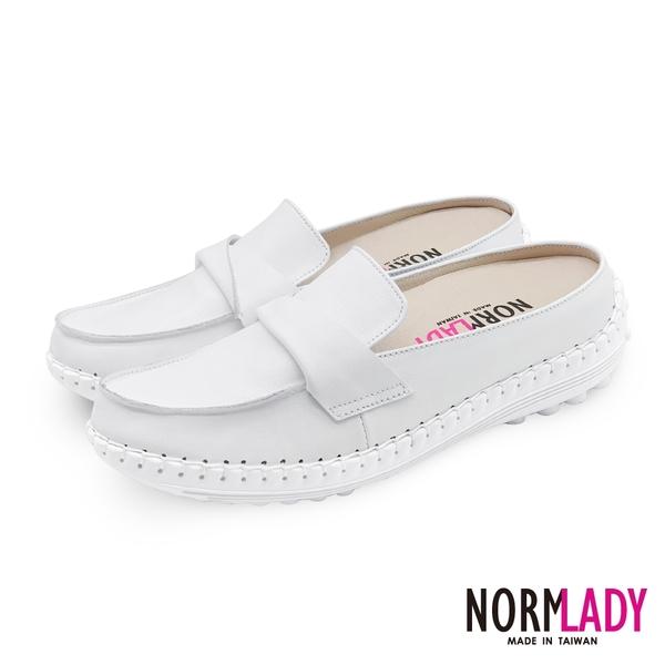 女鞋 穆勒鞋 氣墊鞋 拖鞋 翻轉蜜糖真皮磁石內增高氣墊球囊穆勒鞋-MIT手工鞋(純真白)Normlady諾蕾蒂