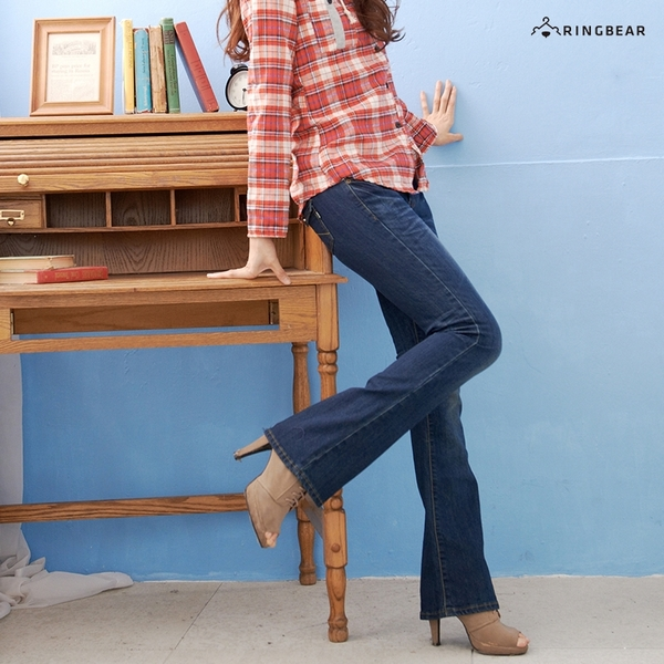 顯瘦--翹臀顯瘦刷色金釦中低腰小喇叭牛仔褲(S-7L)-N61眼圈熊中大尺碼