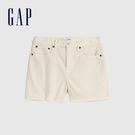 Gap女裝 簡約純色燈芯絨自然腰休閒短褲 573716-象牙白