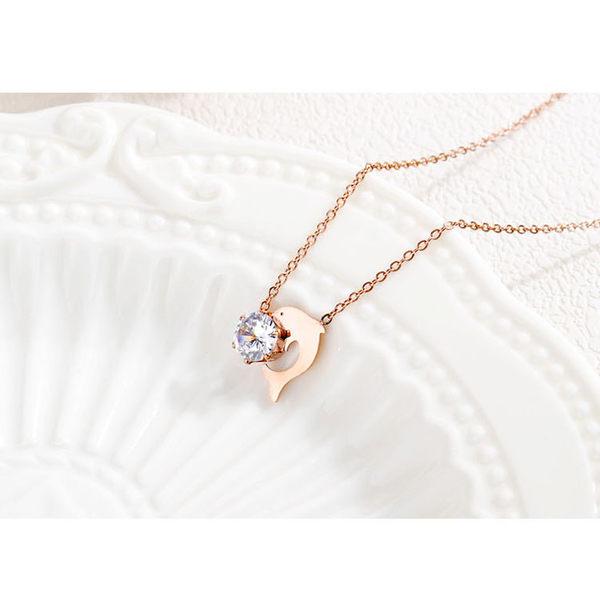 【5折超值價】時尚精美海豚鑲鑽造型女款鈦鋼項鍊