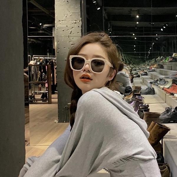 墨鏡 復古新款kuku同款奶白色墨鏡jennie方形大框情侶街拍太陽眼鏡顯瘦 小衣里