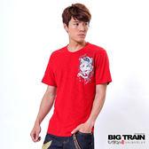 BIG TRAIN 鬼頭鐮刀武士印花TEE-男-紅色