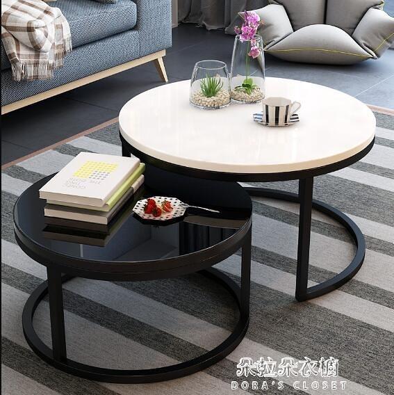 茶几 北歐茶几現代簡約小戶型簡易小茶几家用客廳創意鐵藝玻璃圓形茶几 朵拉朵
