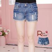 短褲--發燒款叛逆搖滾鉚釘牛仔短褲(M-7L)-R153眼圈熊中大尺碼