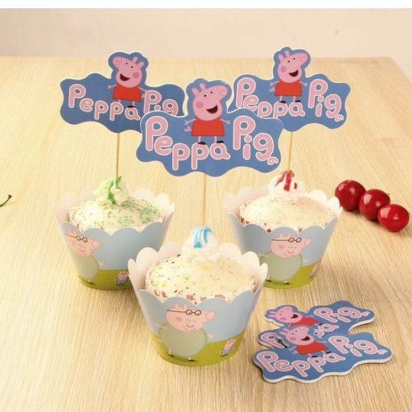 【發現。好貨】烘焙包裝紙杯蛋糕 蛋糕裝飾 插牌圍邊+插牌裝飾 派對用品 【粉紅豬小妹】