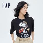 Gap女裝 Gap x Snoopy 史努比系列純棉厚磅短袖T恤 699085-黑色