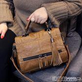 機車包 包包手提包女韓版時尚簡約百搭斜挎包機車休閒軟皮單肩包  瑪麗蘇