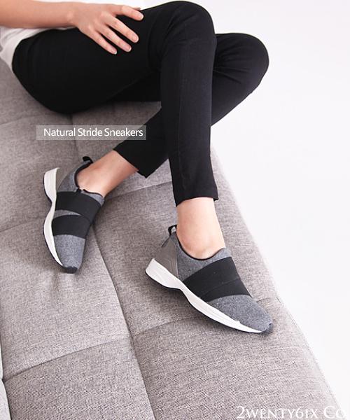 ★正韓 ★ Natural Stride Sneakers 自然步伐 率性素面 雙鬆緊飾帶 休閒運動鞋