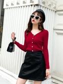 針織衫針織衫秋季新款女裝V領毛衣內搭長袖打底衫短款開衫修身外穿上衣 易家樂