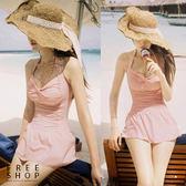 [現貨] 遮肚顯瘦性感連衣裙式繞頸溫泉泳裝 黑色粉紅色紅色 連身比基尼泳衣小清新【QZZZ6226】