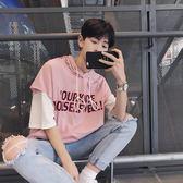 夏7七分袖T恤男士韓製潮流假兩件連帽短袖學生寬鬆bf半袖衫五分袖 S-2XL【快速出貨八五折鉅惠】