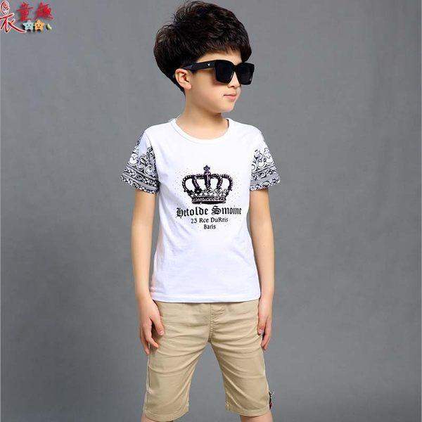 衣童趣 ♥韓版中大男童 時尚皇冠印花 圓領T 休閒百搭男童套裝