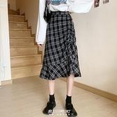 半身裙女設計感格子2020新款中長款荷葉邊魚尾裙高腰顯瘦裙子 快速出貨