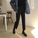 西裝褲 秋裝好康推薦新款正韓復古黑色休閒褲女顯瘦彈力直筒褲九分西裝褲學生