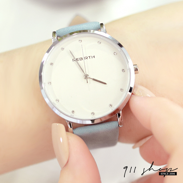 Lacuna.REBIRTH品牌。粉彩亮鑽刻度素面絨質皮革手錶【ta073】911 SHOP