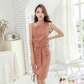 OL洋裝 2020夏新款女氣質OL時尚御姐范性感斜領露肩顯瘦綁帶很仙的連身裙TZ628【花猫女王】