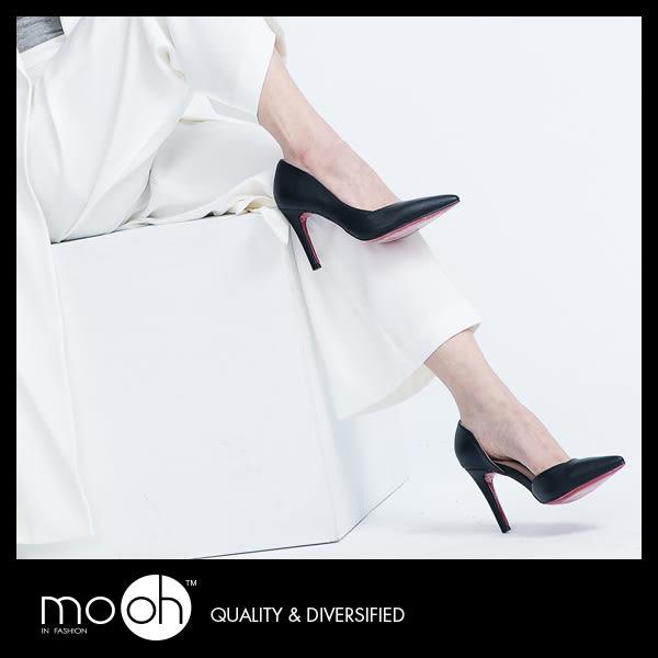 素面簡約側鏤空高跟鞋 韓國尖頭純色高跟鞋 mo.oh (歐美鞋款)